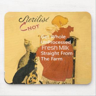 Vintages Kätzchen-Milch-Plakat Mousepads