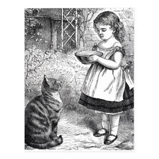 Vintages Kind und Katze Postkarte