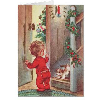Vintages Kinder-und Welpen-Weihnachten Themed Karte