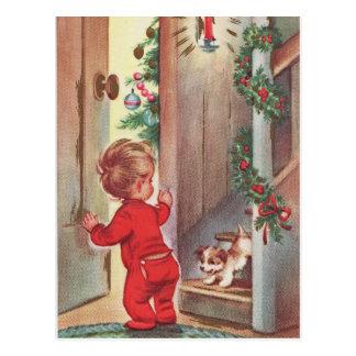 Vintages Kinder-und Welpen-Weihnachten Themed Postkarte
