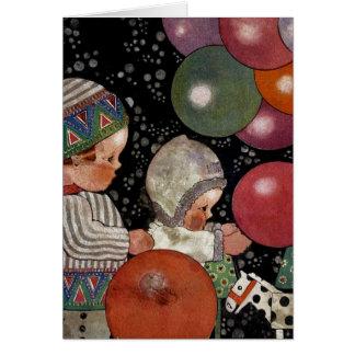 Vintages Kindergeburtstags-Party, Ballone und Karte