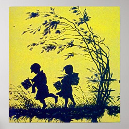 Vintages KinderSilhouette-Plakat