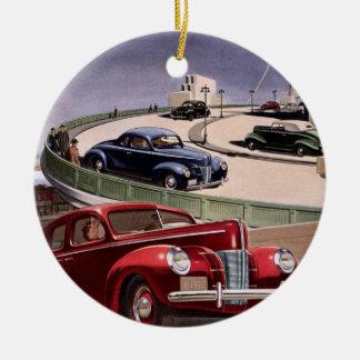 Vintages klassisches Sedan-Auto-Fahren auf die Rundes Keramik Ornament