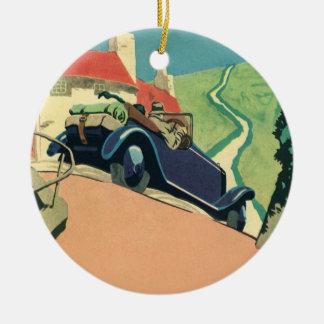 Vintages konvertierbares Auto auf einer Rundes Keramik Ornament