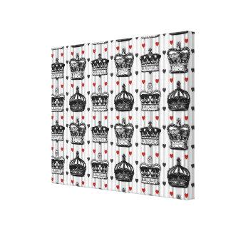 Vintages Kronen-Herz-Streifen-Muster Leinwanddruck