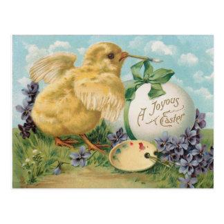 Vintages Küken, das Osterei malt Postkarte