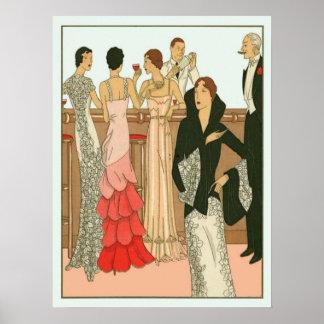 Vintages Kunst-Deko-Martini-Party Poster