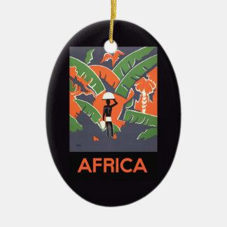 Vintages Kunst-Deko-Reise-Plakat, afrikanischer Ovales Keramik Ornament