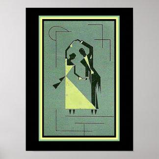 Vintages Kunst-Deko-Tänzer-Plakat 12 x 16 Poster