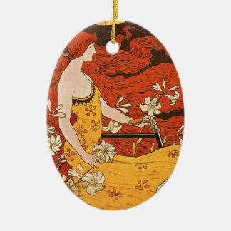 Vintages Kunst Nouveau Fahrrad-Frauen-Blumen-Haar Ovales Keramik Ornament