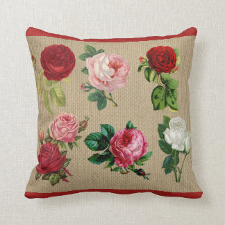 Vintages Leinwand-Rosen-Baumwollthrow-Kissen Kissen
