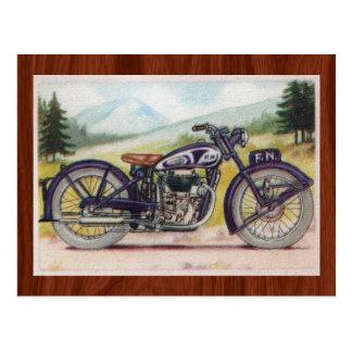 Vintages lila F.N. Motorcycle Print Postkarte