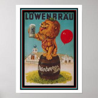 Vintages Lowenbrau Plakat 12 x 16