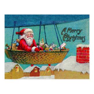 Vintages Luftschiff-Sankt-Weihnachten Postkarte