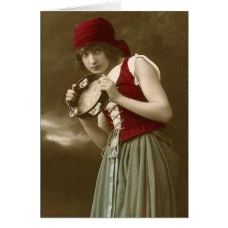 Vintages Mädchen des Sinti und Roma Karte