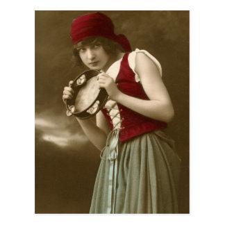 Vintages Mädchen des Sinti und Roma Postkarte