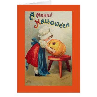 Vintages Mädchen mit Kürbis Grußkarte