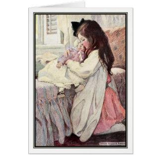Vintages Mädchen mit Puppe durch Jessie Willcox Karte
