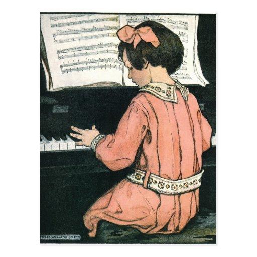 Vintages Mädchen, Musik, Klavier, Jessie Willcox Postkarte