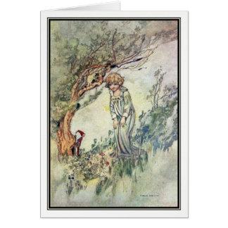 Vintages Mädchen und Gnome durch Charles Robinson Karte
