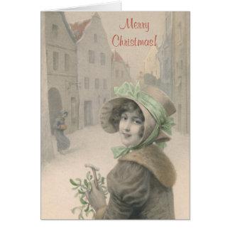 Vintages Mädchen und Mistelzweig Weihnachten Karte