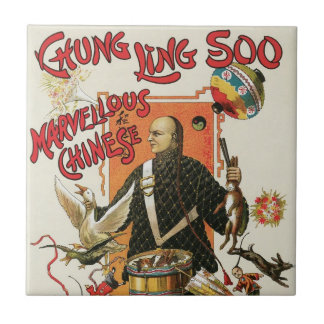 Vintages magisches Plakat, Magier Chung Ling Soo Keramikfliese