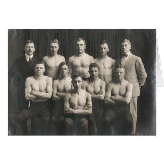 Vintages männliches Wrestling-Team Karte