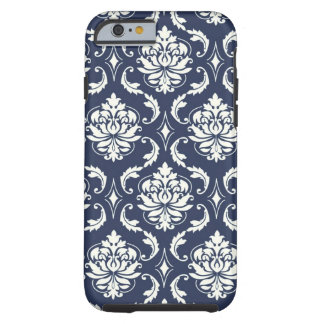Vintages Marine-Blau-weißes Damast-Muster Tough iPhone 6 Hülle