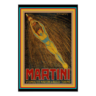 Vintages Martini- u. Rossikunst-Deko-Plakat Poster