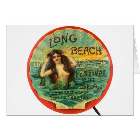 Vintages Meerjungfrau-Long Beach Festival 1908 des Grußkarte