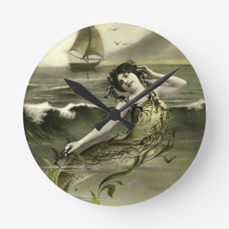 Vintages Meerjungfraubild Uhr