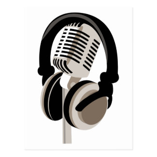 Vintages Mikrofon mit Kopfhörern Postkarte