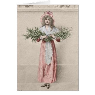 Vintages Mistelzweigstechpalmen-Mädchen Karte
