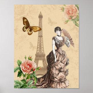 Vintages Modeplakat mit Blumen Poster