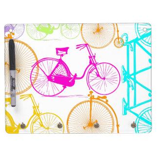 Vintages modernes Fahrrad-helles Farbneon-Muster Trockenlöschtafel Mit Schlüsselanhängern