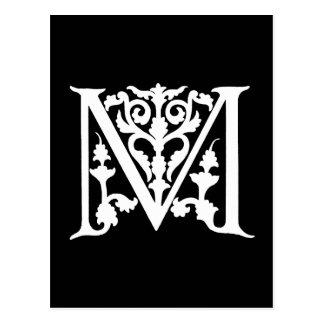 """Vintages Monogramm-Schwarz-weiße """"m-"""" Initialen Postkarte"""