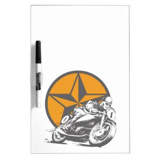 Vintages Motorrad, das Kreis-Stern läuft Trockenlöschtafel