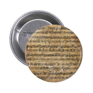 Vintages Musik-Blatt Runder Button 5,7 Cm