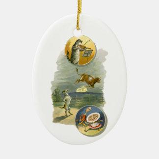 Vintages Mutter-Gans-Kinderzimmer-Reim-Gedicht Ovales Keramik Ornament