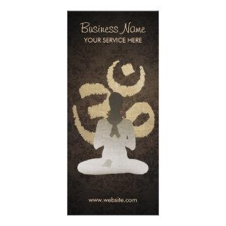 Vintages OM unterzeichnen Damast-Hintergrund-Yoga Werbekarte