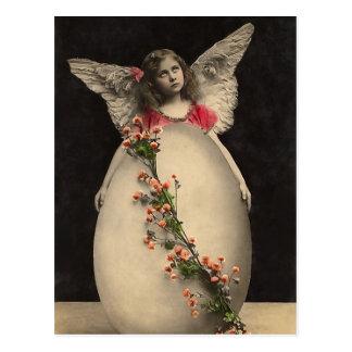 Vintages Ostern-Engelsmädchen mit Eibild Postkarte