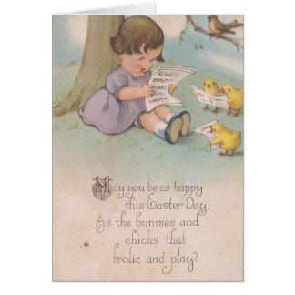 Vintages Ostern glücklich als Küken Karte