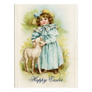 Vintages Ostern-Mädchen Postkarte