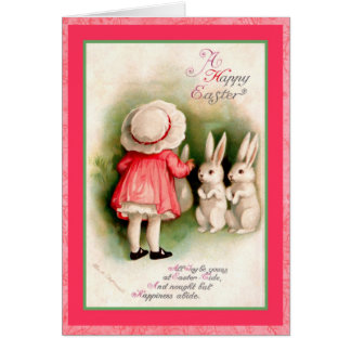Vintages Ostern-Mädchen und weiße Häschen Grußkarte
