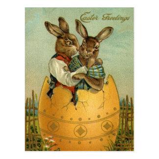 Vintages Ostern, viktorianische Häschen in einem Postkarte