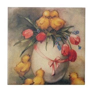 Vintages Ostern, viktorianische Küken und Tulpen Kleine Quadratische Fliese