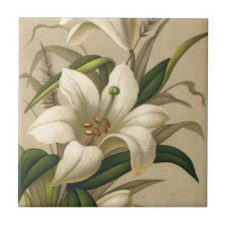 Vintages Ostern, viktorianische Lilien-Blumen in Kleine Quadratische Fliese