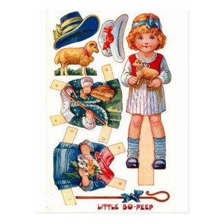 Vintages Paperdoll kleines BO lugen Postkarte