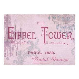Vintages Paris-Brautparty des rosa Leuchters Karte