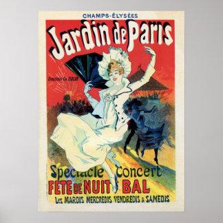 Vintages Party Schönheitsepoche jardin Des Paris Poster